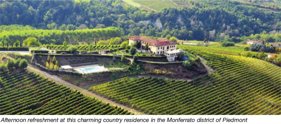 Afternoon refreshment at this charming country residence in the Monferrato district of Piedmont