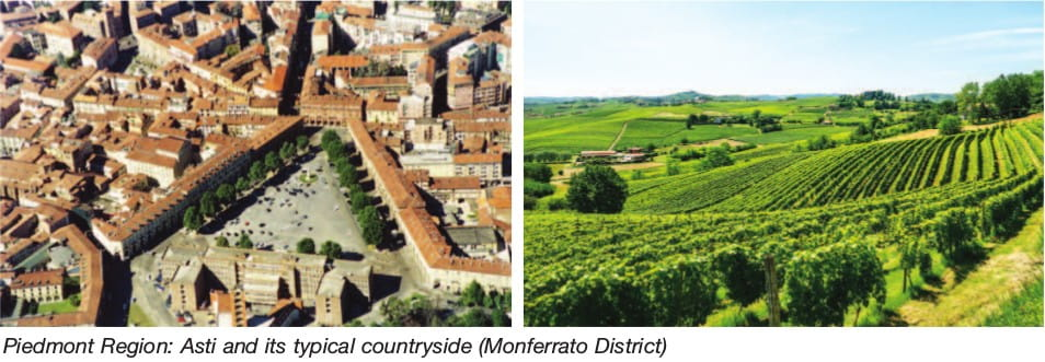 Piedmont Region: Asti and its typical countryside (Monferrato District)