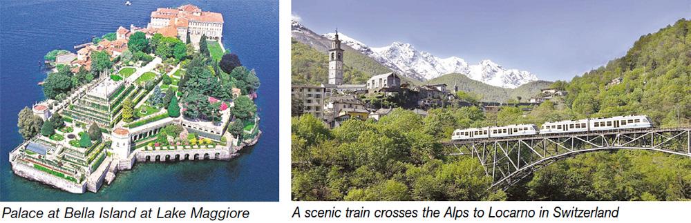 Palace at Bella Island at Lago Maggiore & A scenic train crosses the Alps to Locarno in Switzerland