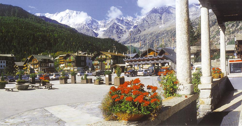 Piedmont Region - Macugnaga (1,330m) and the snowy peak of Mt. Rosa (4,670m)