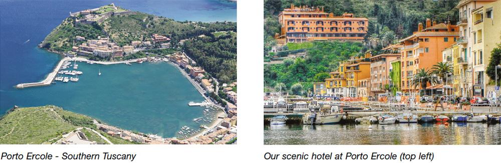 Porto Ercole - Southern Tuscany & Our scenic hotel at Porto Ercole (top left)