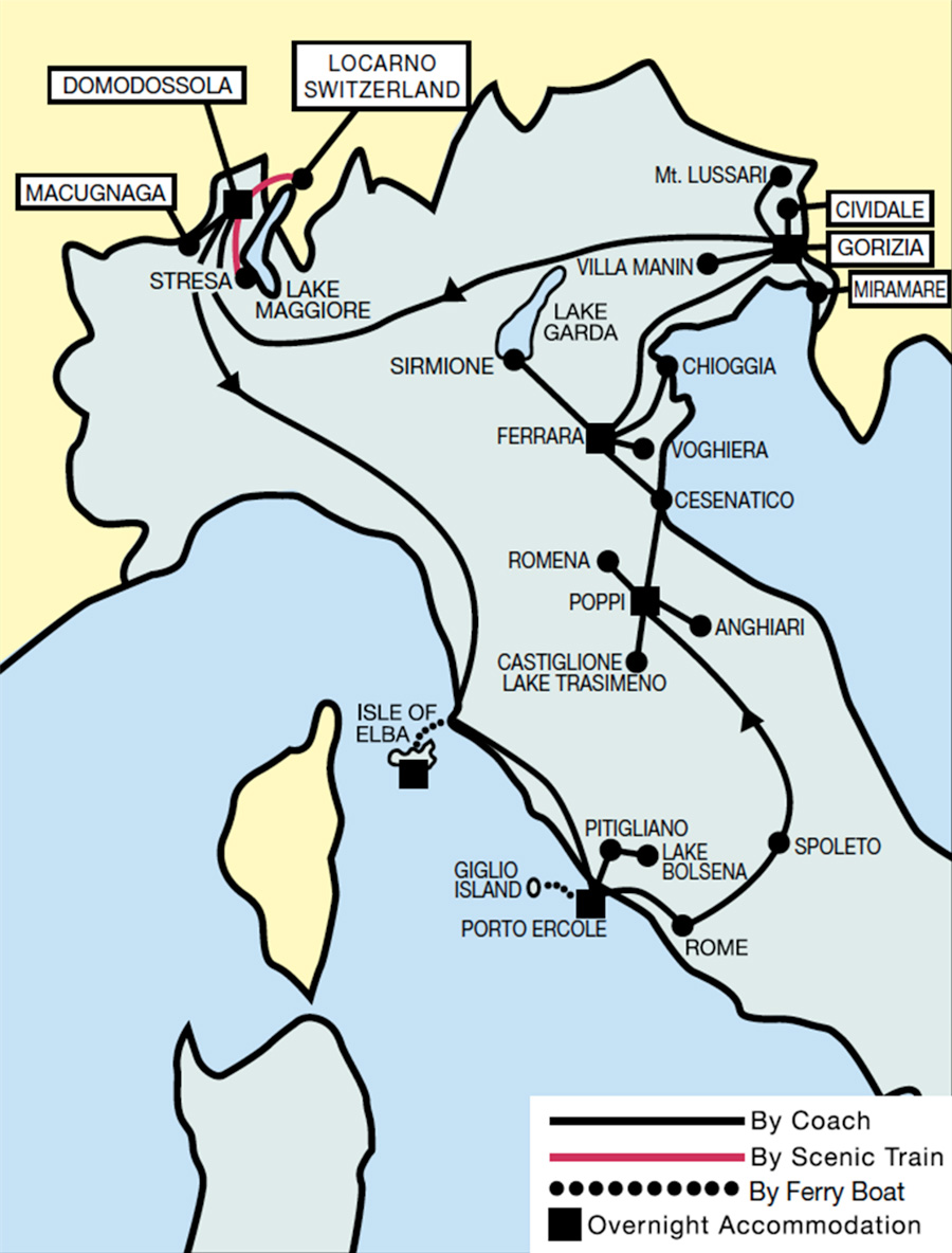 Scenic Italy & Islands Tour Map