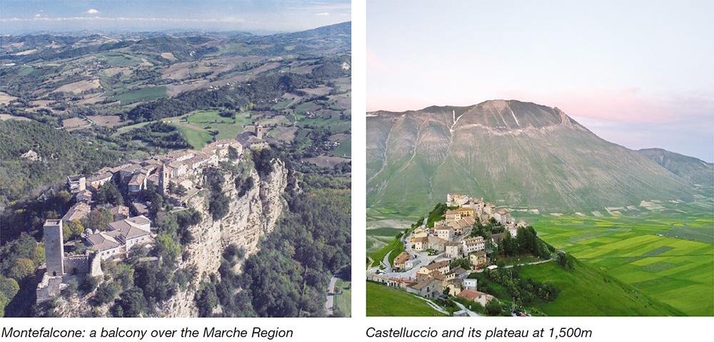 Montefalcone: a balcony over the Marche Region & Castelluccio and its plateau at 1,500m