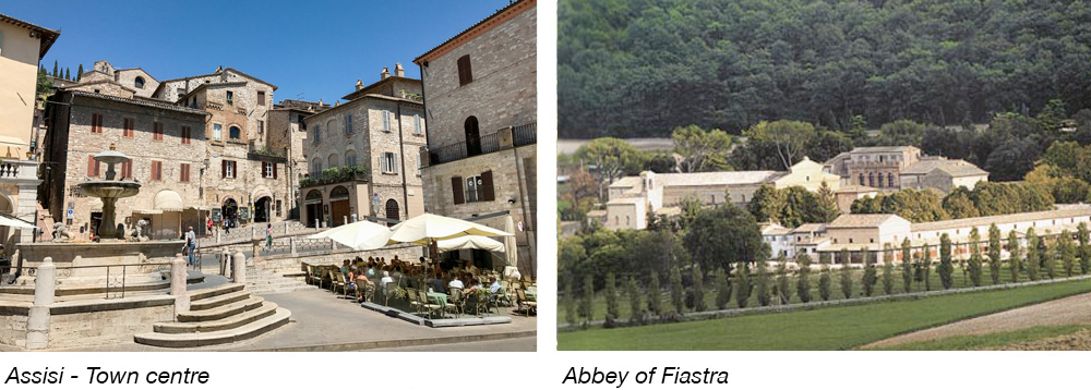 Assisi - Town centre & Abbey of Fiastra