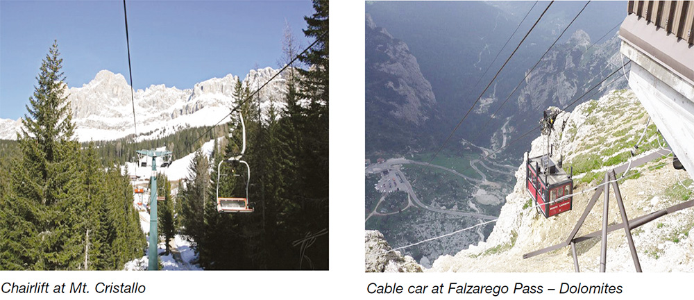 Chairlift at Mt. Cristallo & Cabel car at Falzarego Pass - Dolomites