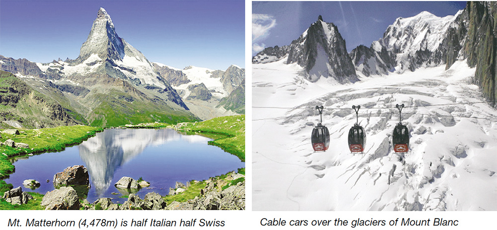 Mt. Matterhorn (4,478m) is half Italian half Swiss & Cable cars over the glaciers of Mount Blanc