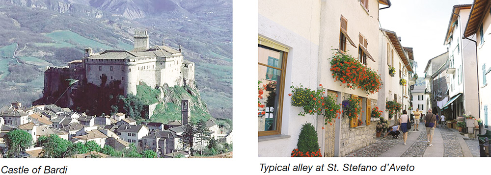 Castle of Bardi & Typical alley at St. Stefano d'Aveto