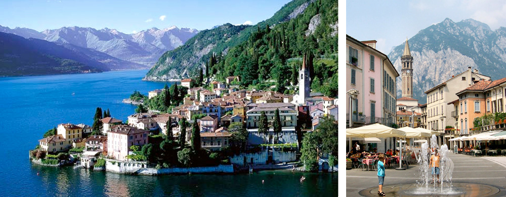 City of Lecco on the banks of Lake Como and its downtown district