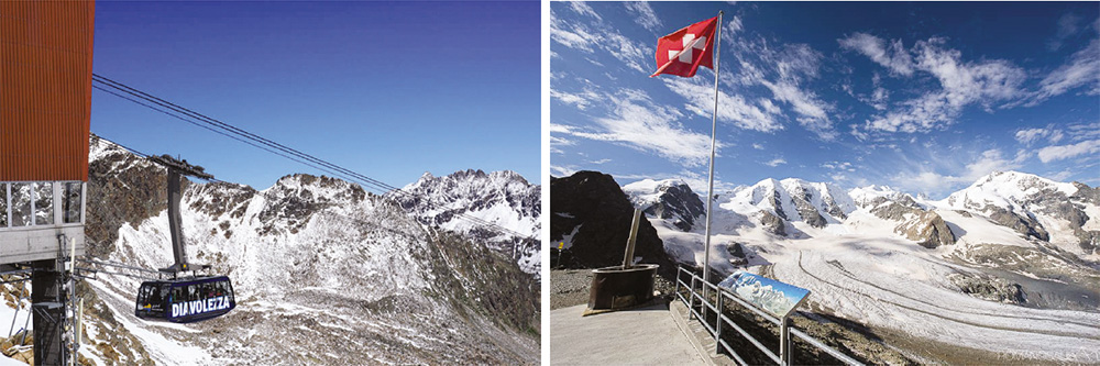 Cable car to the spectacular Chalet/lookout of the Bernina Glacier - Switzerland