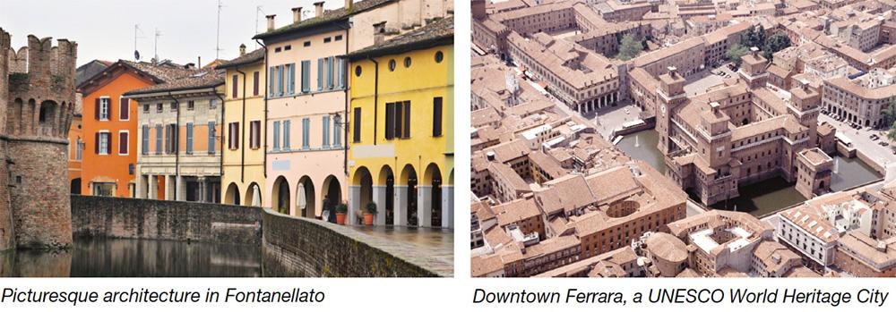 Picturesque architecture in Fontanellato & Downtown Ferrara, a UNESCO World Heritage City