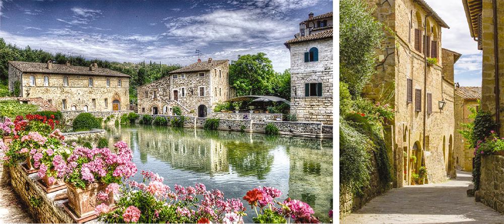Traditional architecture in Tuscany: Bagno Vignoni (left) and Monticchiello (right)