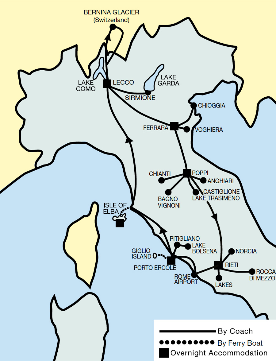 Scenic Italy & Islands Tour Map 2021