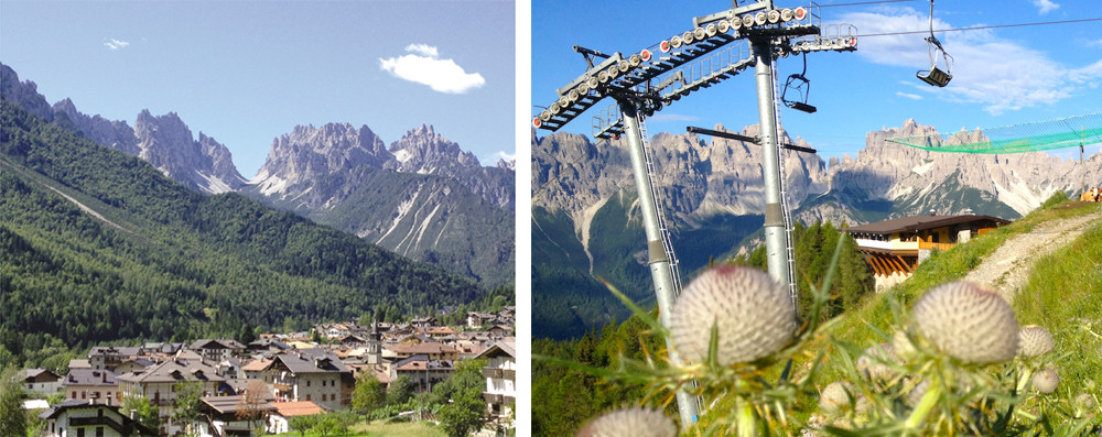 At Forni di Sopra (left) a chairlift climbs near a panoramic chalet (above) at 1,750m