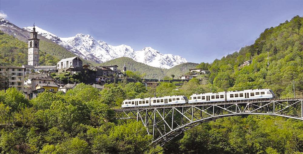 A scenic train crosses the Alps to Locarno in Switzerland