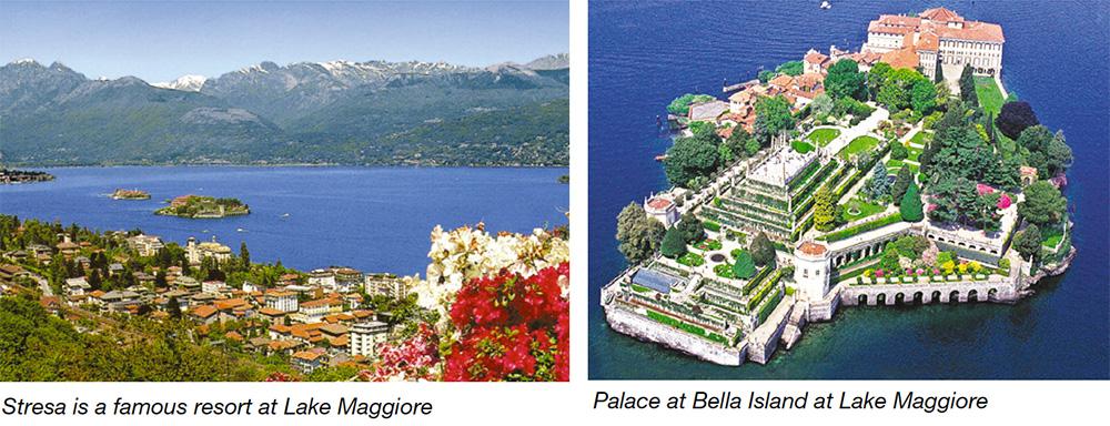 Stresa is a famous resort at Lake Maggiore & Palace at Bella Island at Lake Maggiore
