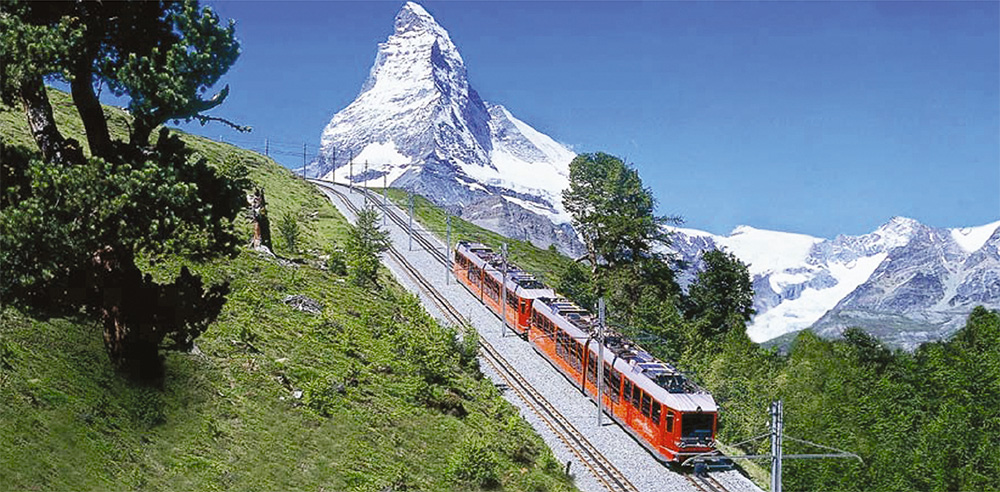 A spectacular Swiss cog-train climbs from Zermatt (1600m) to 3,089m at the foot of the Matterhorn (peak of 4,478m)