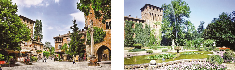 The picturesque medieval town of Grazzano Visconti and ist castle