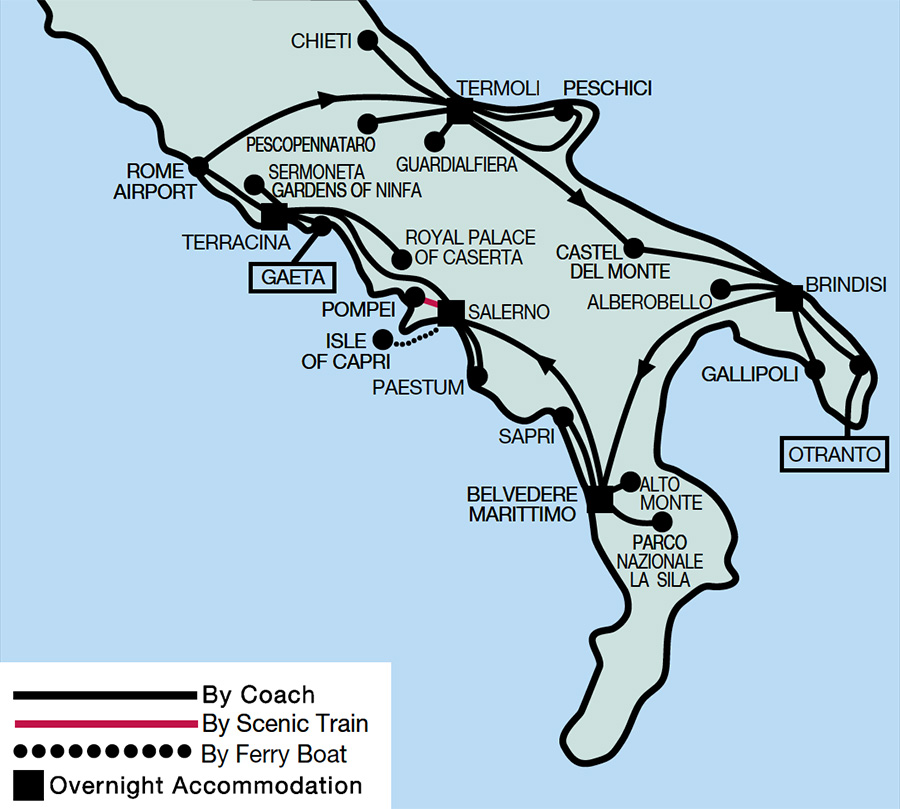Scenic Southern Italy Map 2021
