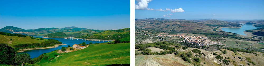 Molise Region – The Picturesque lake of Guardialfiera is overlooked by the town of Guardialfiera