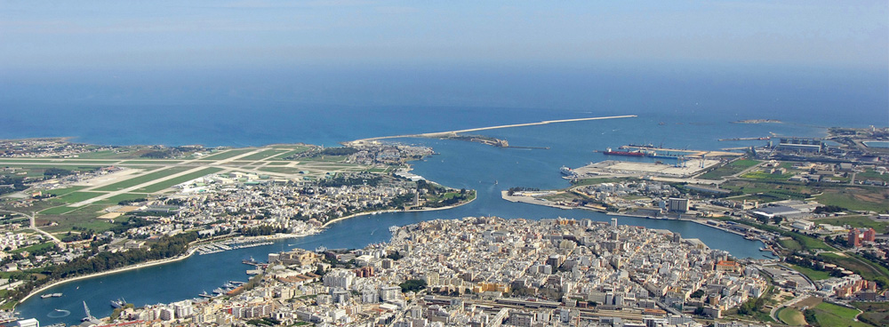 Aerial view of Brindisi, one of the major cities of the Puglia Region