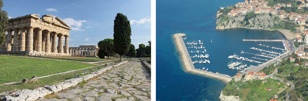 One of the Greek temples in Paestum and the picturesque sea village of Agropoli