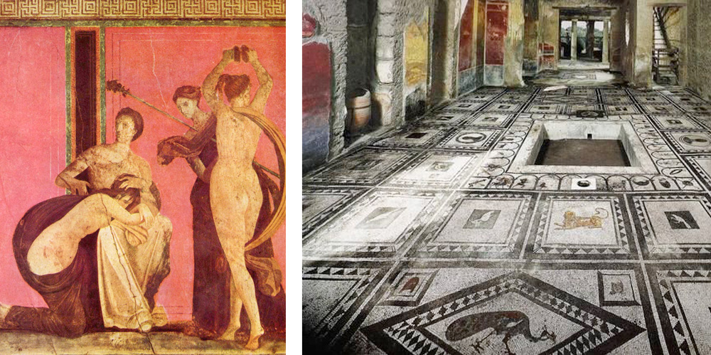 Beautiful mosaics and frescos can be admired in the Roman houses of Pompei