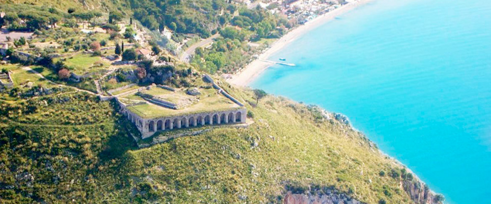 The Temple of Jupiter sits in high position above the Mediterranean Sea