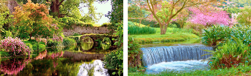 The gardens of Ninfa are set amongst the ruins of an old Roman town