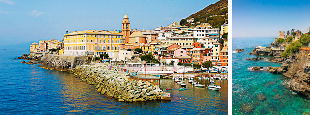 The town of Nervi boasts a scenic pathway stretching 2 km along a rocky coastline