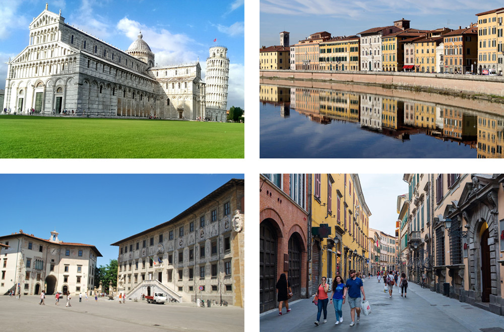 Tuscany – Pisa is famous for the leaning tower (top left) but it also boasts an attractive historic downtown district