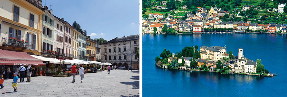 Lake Orta – The main square of the village of Orta and its island with Orta in the background