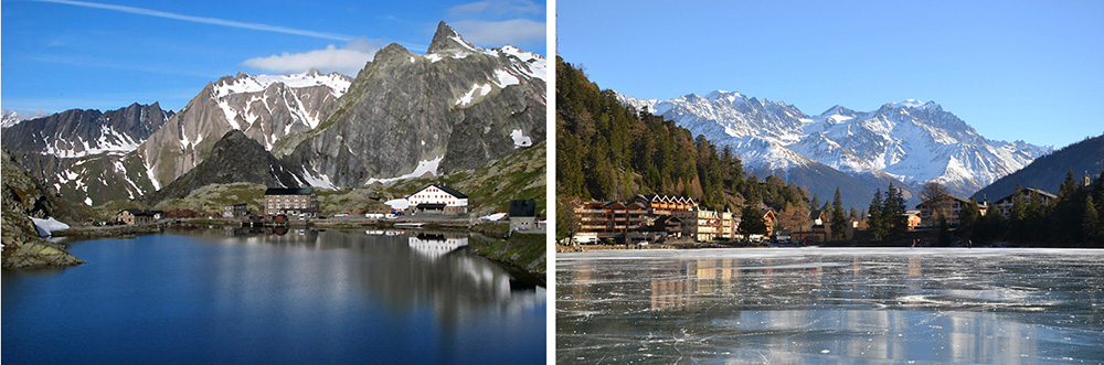 The spectacular Pass of Gran San Bernardo (at 2,500m) leads to the Swiss resort of Champex at 1450m.