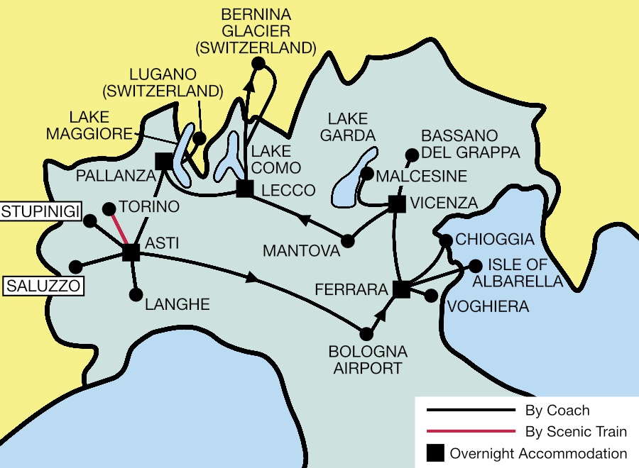 Northern Italy Tour Map 2021