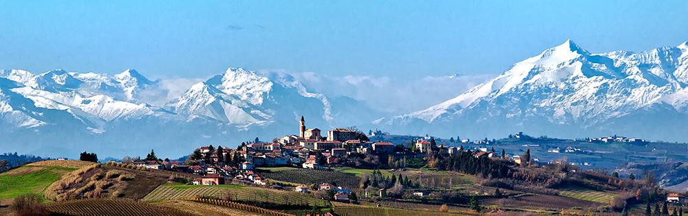 Piemonte Region – Castagnole Monferrato and the Western Alps in the background.