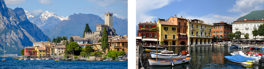 Lake Garda – The impressive town of Malcesine and its picturesque harbour.