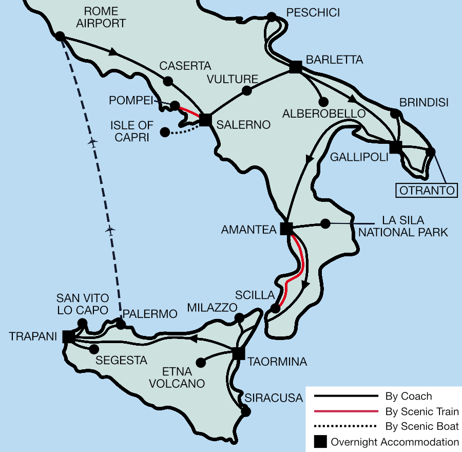 Southern Italy & Sicily Tour Map 2021