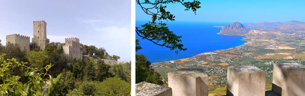 The medieval citadel of Erice is set on a peak at 750m, boasting scenic views of the coastline
