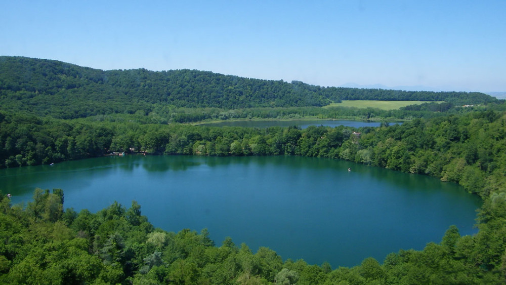 The unspoilt Lakes Monticchio lie at the bottom of an ancient spent volcano