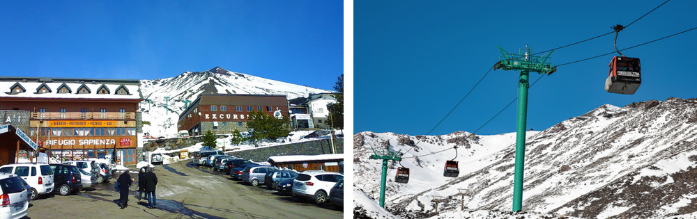 Volcano Etna - From the chalet Sapienza at 1,900m a cableway climbs to 2,550m