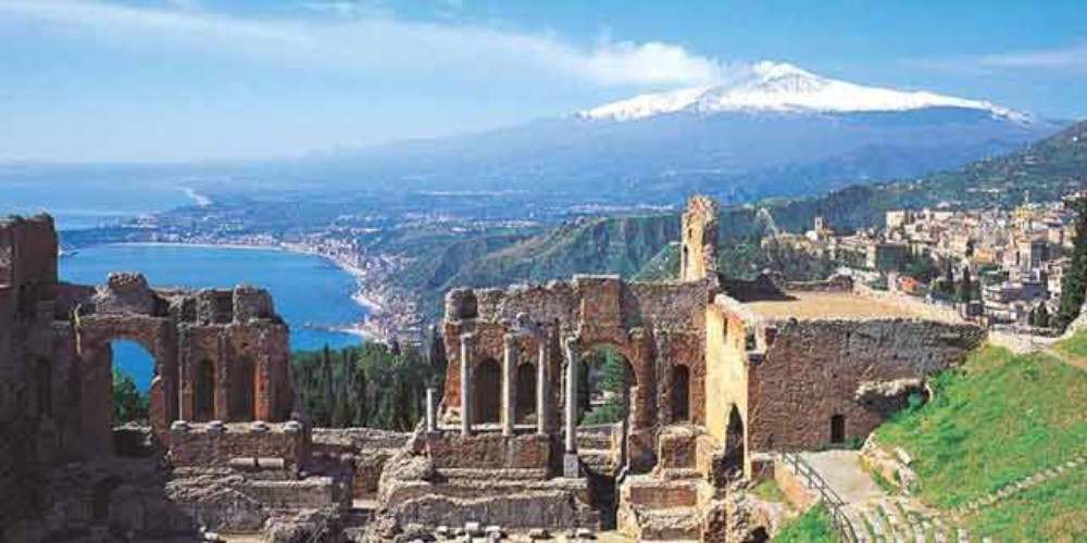 Sicily – Taormina's Greek heritage and Volcano Etna in the background