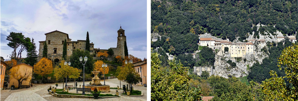 The picturesque mountain village of Greccio and its sanctuary on a rocky cliff